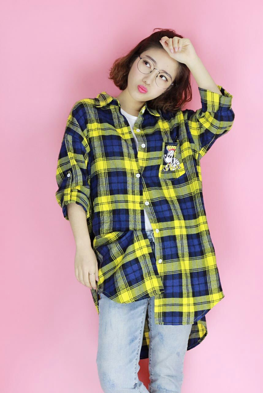 Plus Size New Spring Preppy Style Plaid Loose Han Fan Yang Spend In Blouse Shirt Green It All Huang Ge 9579(China (Mainland))