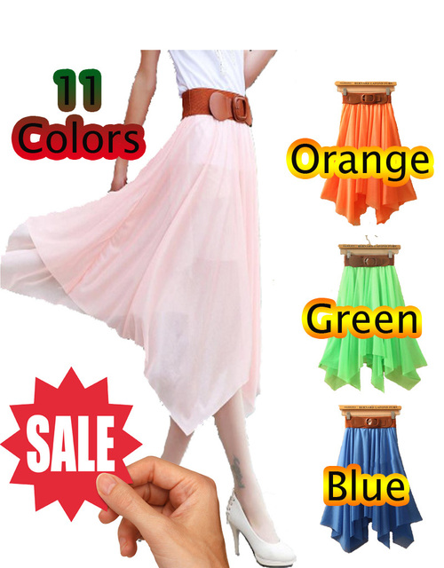 Free shipping New chiffon skirts  big skirt irregular skirt  beach resort