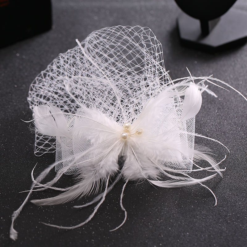 2016 New Beauty White Feather Imitation Pearl Hair Accessories Veil Hat Women Elegant Hair Clip Classic Wedding Party For Bride(China (Mainland))