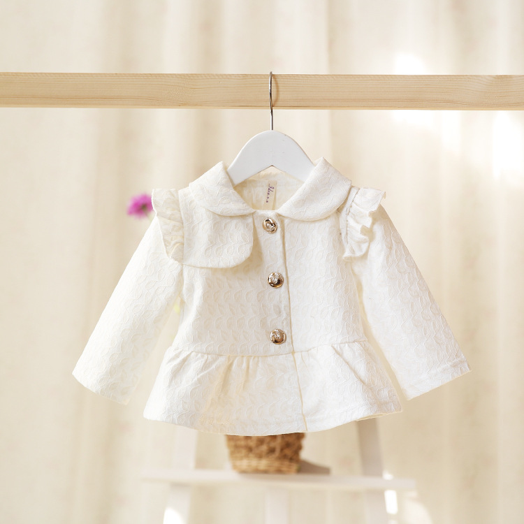 2015 New,baby girls casual trench/outerwear,children spring jackets,lace embroidery,button,3 colors,5 pcs/lot,,2016