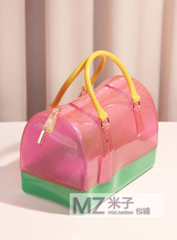 The new summer Boston pillow jelly bag transparent candy color female bag-29