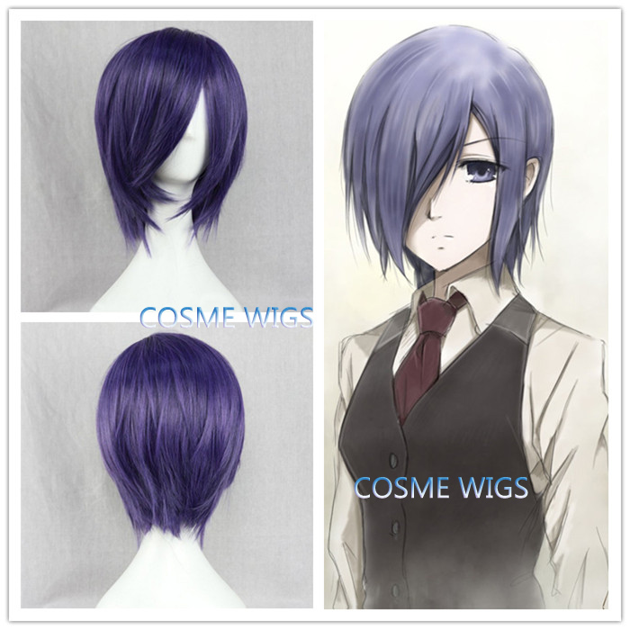 Free Shipping Anime Tokyo Ghoul Blue Purple Short Straight Cheap Cosplay Costume Wig Touka Kirishima Toka Synthetic Hair Wigs(China (Mainland))