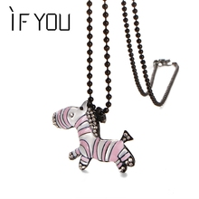 IF YOU 2 Color Unicorn Cute Crystal Zebra Long Pendant Necklaces For Women Brincos Sweater chain Jewelry Gift Free Shipping(China (Mainland))