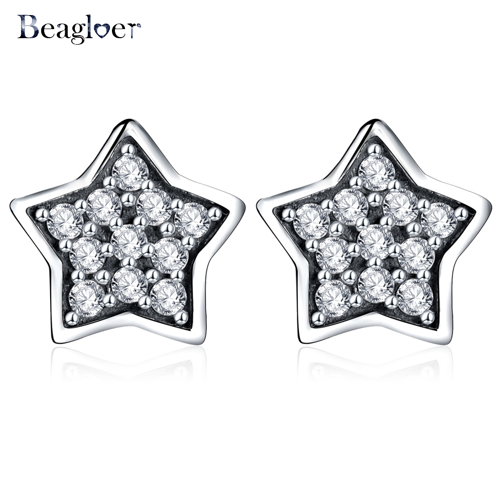 Beagloer 100% 925 Sterling Silver Star Stud Earrings For Women Fine Wedding Jewelry Authentic Fashion Gift PSER0011-B(China (Mainland))
