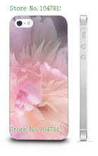 Mobile Phone Case Retail 1pc peony flowers Protective White Hard Back Case Cover For Iphone 5 5s Free Shipping