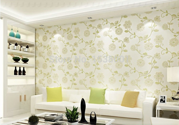 European simple wallpaper green leaf design non woven for Pink living room wallpaper