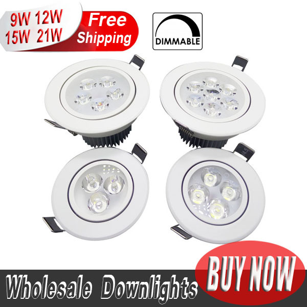 2pcs LED Downlight Dimmable CREE 9W 12W 15W 21W items White shell lights for home Bathroom living room kitchen lighting(China (Mainland))
