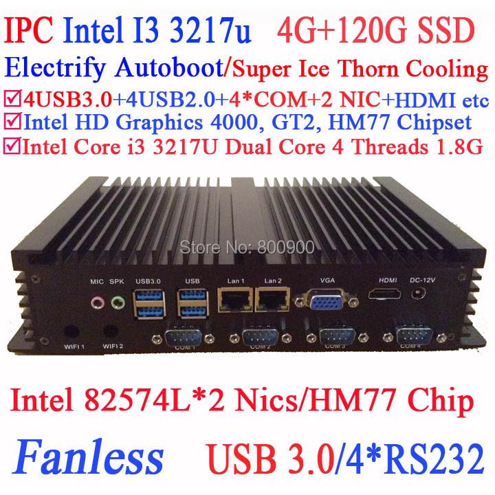 Dual core Mini PC I3 dual Intel 82574L Nics HM77 4 USB 3.0 4 COM 4G RAM 120G SSD WIN7 WIN8 LINUX free drive NAS Free 7 24 hours<br><br>Aliexpress