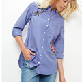 Women Autumn Blouse With Long Sleeved Tops Ladies Striped Blouses Embroidery Flower Shirt Casual Female Tops