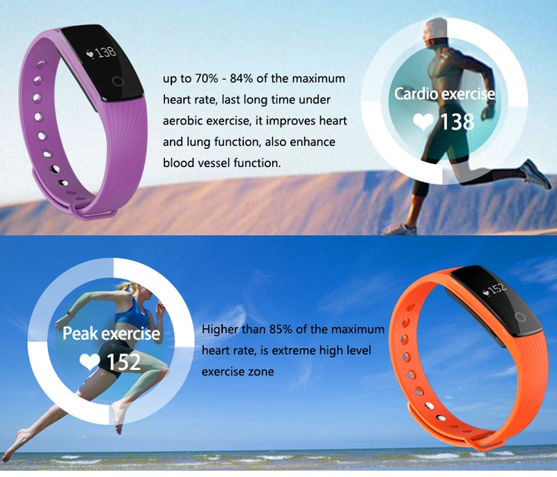 image for 2016 Bluetooth Smart Band Heart Rate Monitor Smart Wristband Fitness T
