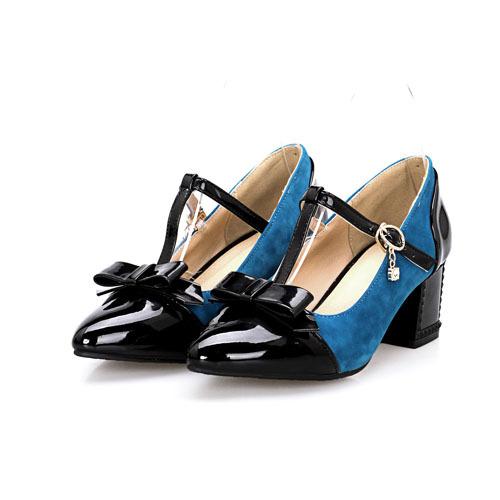 Frances velvet+patent leather pointed toe shoes pumps sweet lady Bowtie T-Strap Platform pumps date party women pumps(China (Mainland))