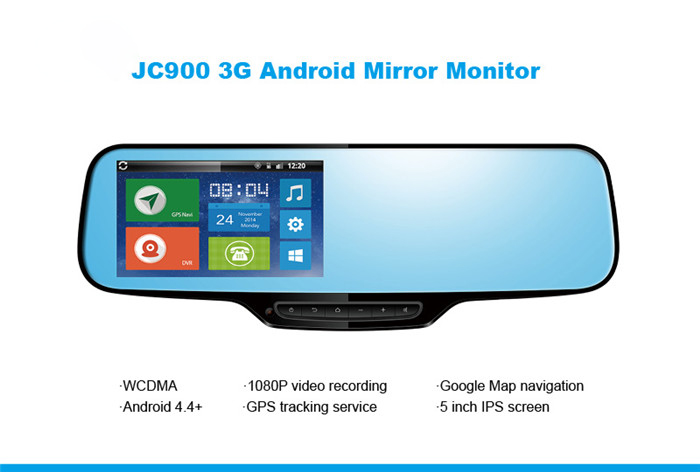 1080P 3G Android Rearview Mirror Dual Camera Strap Version with WCDMA Google Map GPS Navigation &Parking Alarm Free GPS Tracking(China (Mainland))