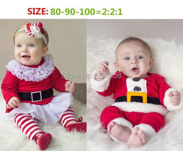 2015 Kids Christmas Santa Claus Costume Xmas Party Dress Long Sleeves Top + pants 2 pcs sets Baby Cute wear ready stock(China (Mainland))