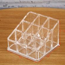 Clear 9 Grids Makeup organizer Lipstick Storage box Plastick Lip rack Holder Cosmetic Organizer box Cheap(China)