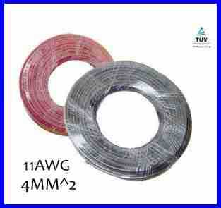 20meters/roll 1x4mm^2 solar cable with XLPE jacket, 4mm2 solar cable for MC4 solar connector, 12AWG PV cable with TUV approval.(China (Mainland))
