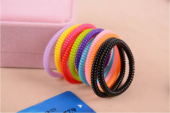 10pcs Caterpillar telephone line hair ring high toughness first lap multicolor spiral thin ultrafine Chain Headwear(China (Mainland))