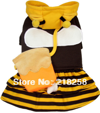 Retail New Coming Small Bee Pet Dogs Coplay Coat Free Shipping By china post new clothing for dog(China (Mainland))
