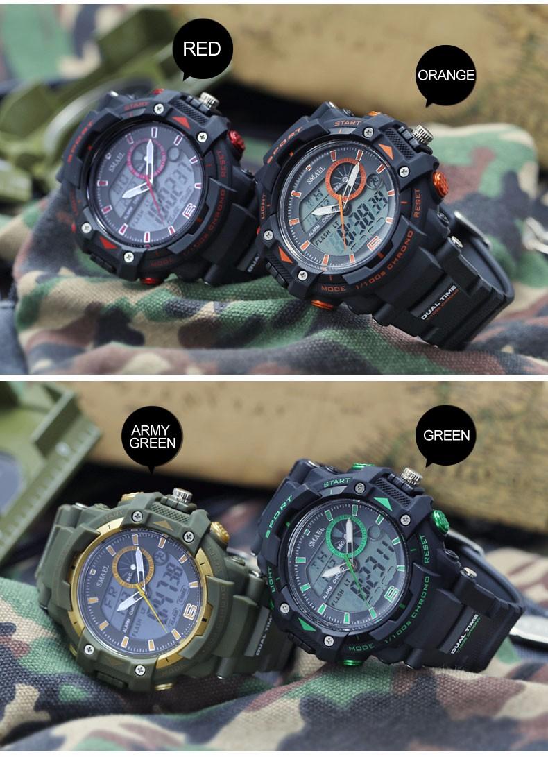 Мода Марка Водонепроницаемый Спортивные Мужчины Открытый СВЕТОДИОДНЫЕ Цифровые Часы Прохладный Военная G Стиль Relogio montre homme reloj часы мужской W3295