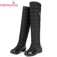 MEMUNIA Rusia rodilla botas punta redonda botas de invierno mantener caliente abajo señoras de la moda de piel de nieve de las mujeres patea los zapatos(China (Mainland))