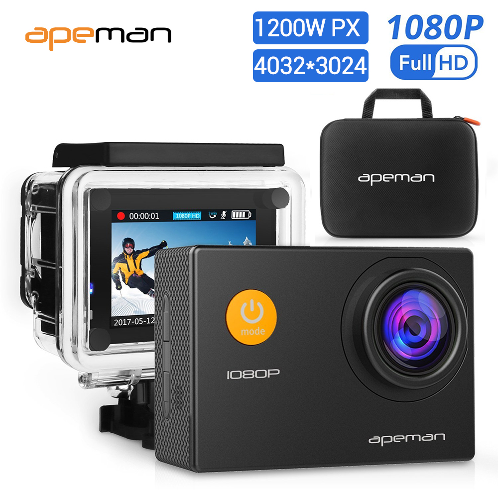 apeman 1080P Action 12MP Camera Full HD 720P 30m Waterproof Sport Action Cam 170D Ultra Wide-Angle Lens outdoors car dvr cam