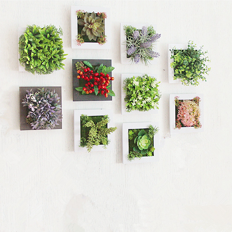 3d creative metope succulent plants imitation wood photo for Artificial flowers decoration for home