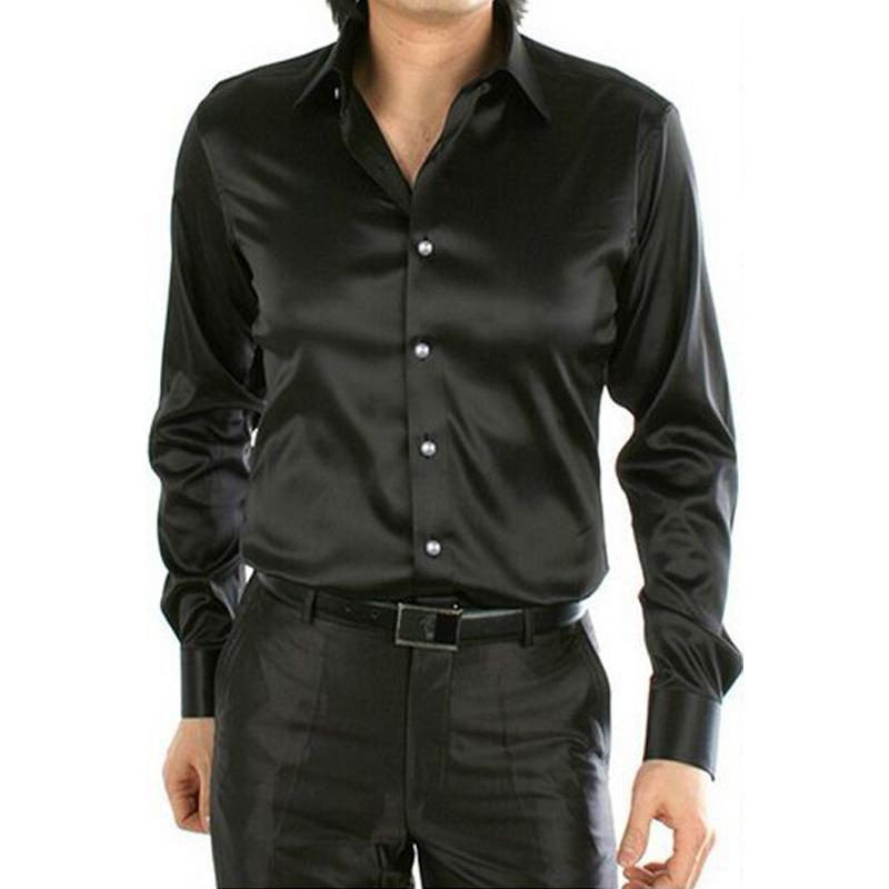 4xl men shirt silk slim fit chiffon long sleeve casual for Cheap slim fit shirts