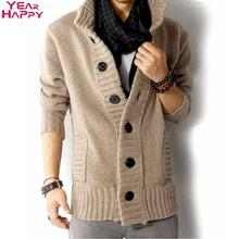 Men Sweater Thick Cotton Full Sleeves Mandarin Collar 2015 High Quality Solid Plus Size M-XXL Cardigans Men Sweater with Button