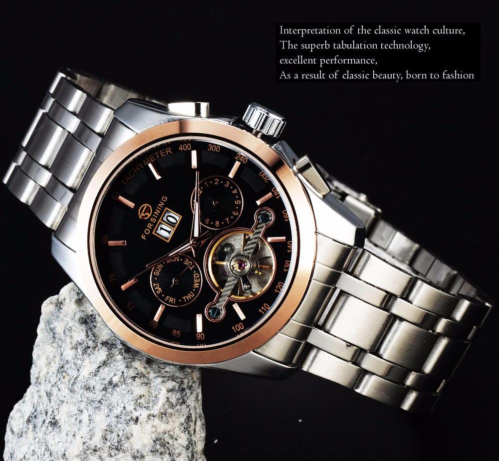 ПОБЕДИТЕЛЬ Мужчины Tourbillon Механические Часы Суб-набор Из Нержавеющей стали Ремешок Черный Циферблат Золотой Case14