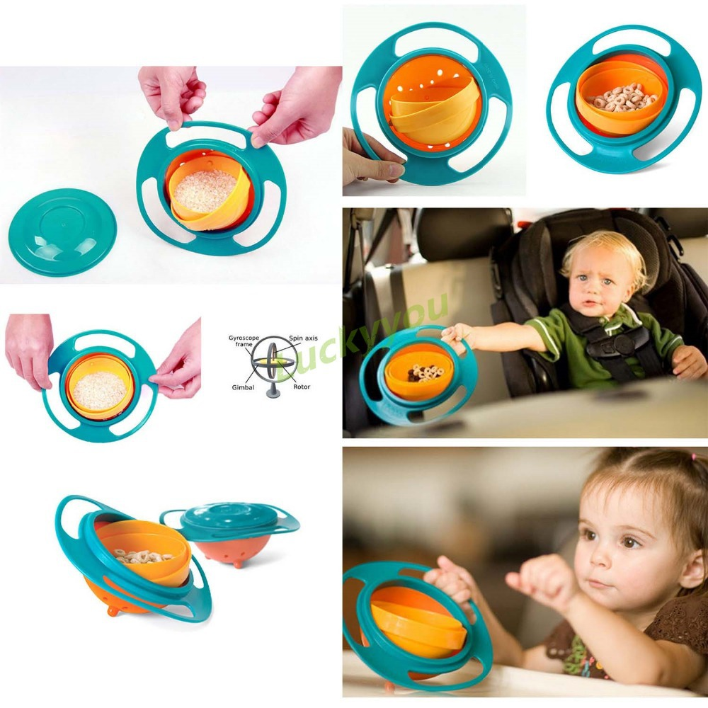 Sale Baby Kid Boy Girl Gyro Feeding Toy Bowl Dishes Non Spill Universal 360 Rotate Technology Funny Gift(China (Mainland))