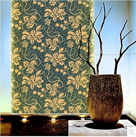 Papier peint salle de bain bleu id es de d coration et for Papier peint vinyl salle de bain