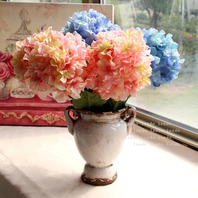 블루 물 핑크 guelder 단일 수국 인공 꽃 실크 꽃 인공 꽃 거실 장식 ...