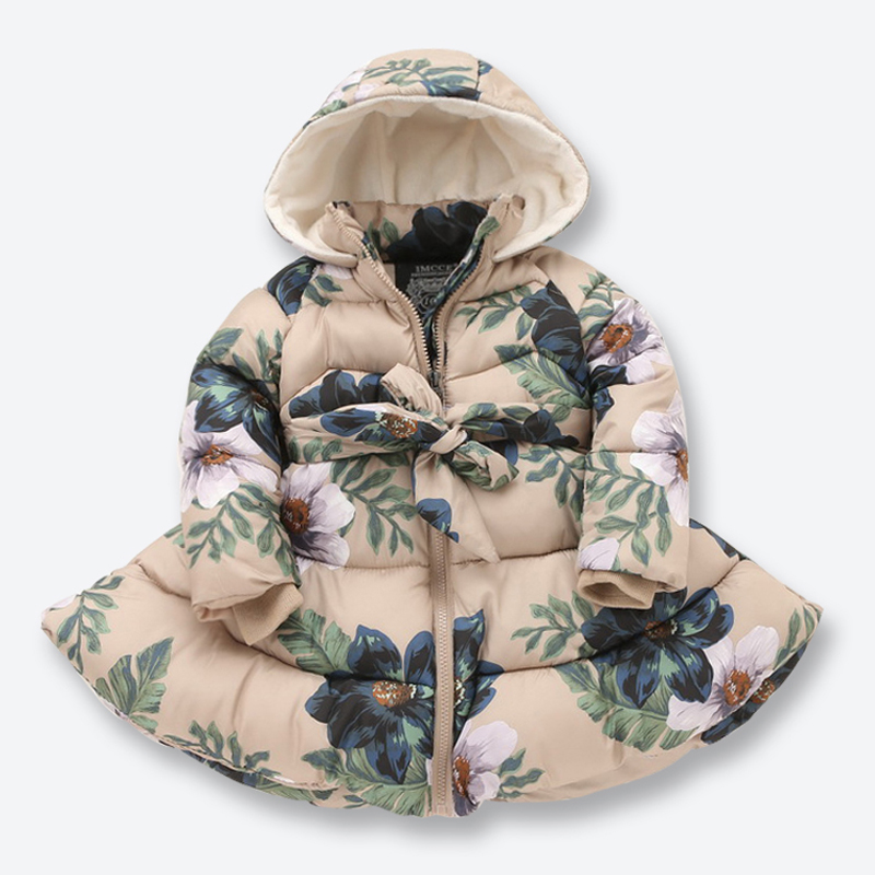 New Kids Winter Jackets for Girls Casual Hooded Zipper Outerwear Girls Coat Cotton Padded Printed Kids