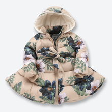 New Kids Winter Jackets for Girls Casual Hooded Zipper Outerwear Girls Coat Cotton Padded Printed Kids Children Clothes 2-9 Yrs