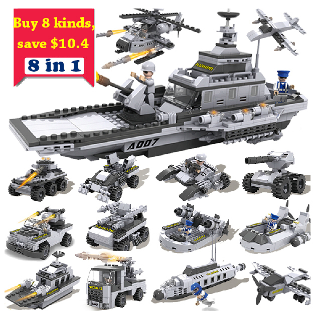 simplepackage 8in1 box products Building Blocks Set warcraf helicopter tank war Enlighten Educational military Bricks DIY Toy