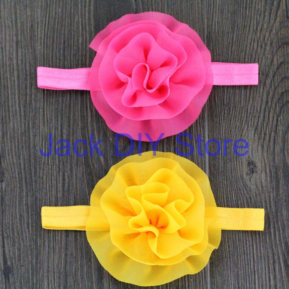 "Free Shipping 36pcs/lot 3.5"" Chiffon Flower Chiffon Ruffled Flower Elastic Headbands Baby Hair Accessories(China (Mainland))"