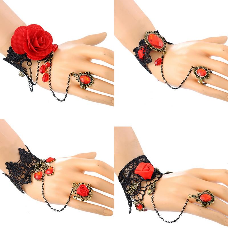 Summer Style Women Fine Jewelry Retro Gothic Jewelry Black Lace Bracelet Adjustable Red Finger 1PC(China (Mainland))