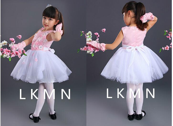 2015 girl flower dress sleeveless children princess nice dance soft party wedding show pink red blue size 2-14 #K02 - Guangzhou Shopping188 store
