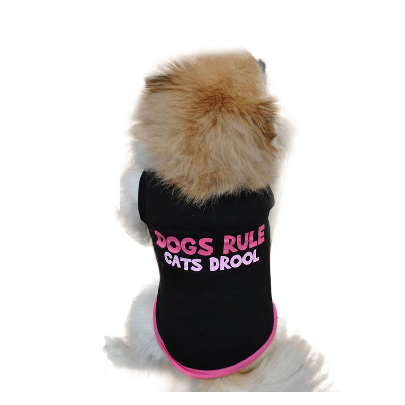Pet Dog Vest Puppy Cat Classic Quote T-shirt Doggy Clothes Cotton Sleeveless Shirts Black with Rose Red Waistcoat Free Shipping(China (Mainland))