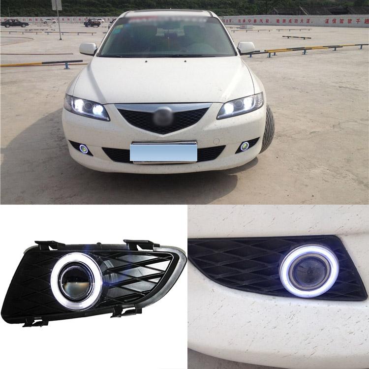 Новый высокое качество независимо от цели удара СИД Ангел глаз+HID лампы проектора объектив противотуманки для Mazda 6 2004-2005