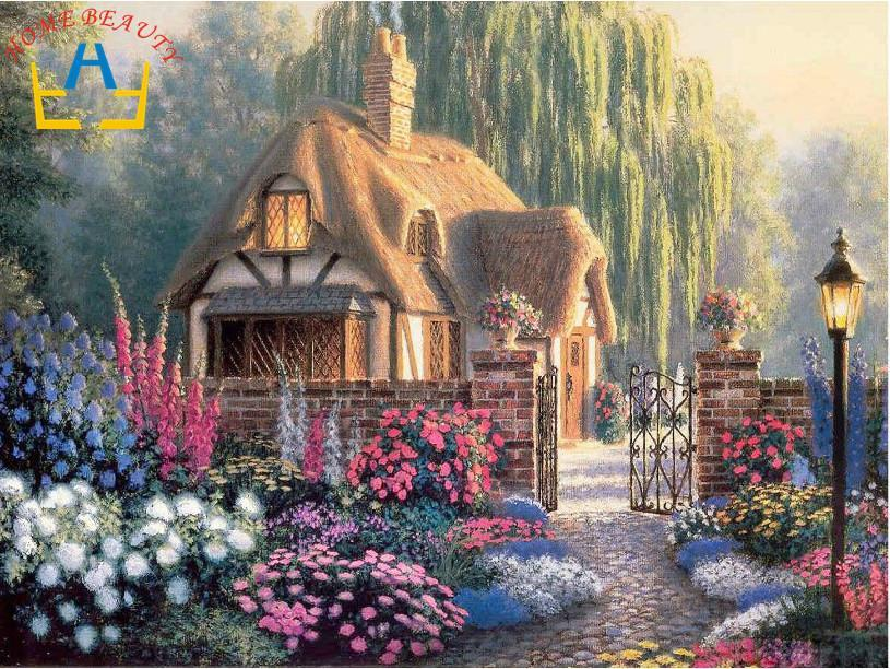 Free shipping diamond cross stitch painting set of embroidery kits home decor wall paint scenic series flower and cabin AA182(China (Mainland))