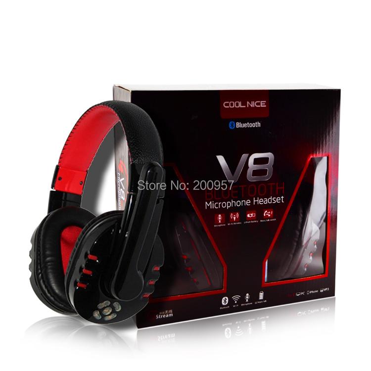 V8 Bluetooth Headset Wireless Headphone Stereo Earphone Studio Head Phone Handsfree Microphone iPhone 6 Computer PC - Best Laptop Parts-Toomly store