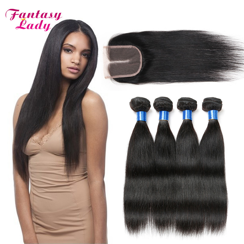 Peruvian Virgin Hair Straight 4Bundles With Closures Straight Peruvian Virgin Hair with Free Middle 3 Part Closure Bresilienne <br><br>Aliexpress