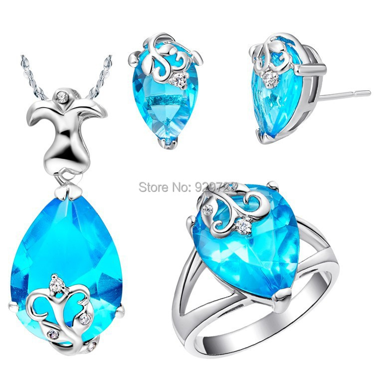 2015 New 925 Sterling Silver Bridal Women Purple Blue Water Drop Flower Jewelry Sets Wedding Earrings Necklace Rings Bijuterias(China (Mainland))