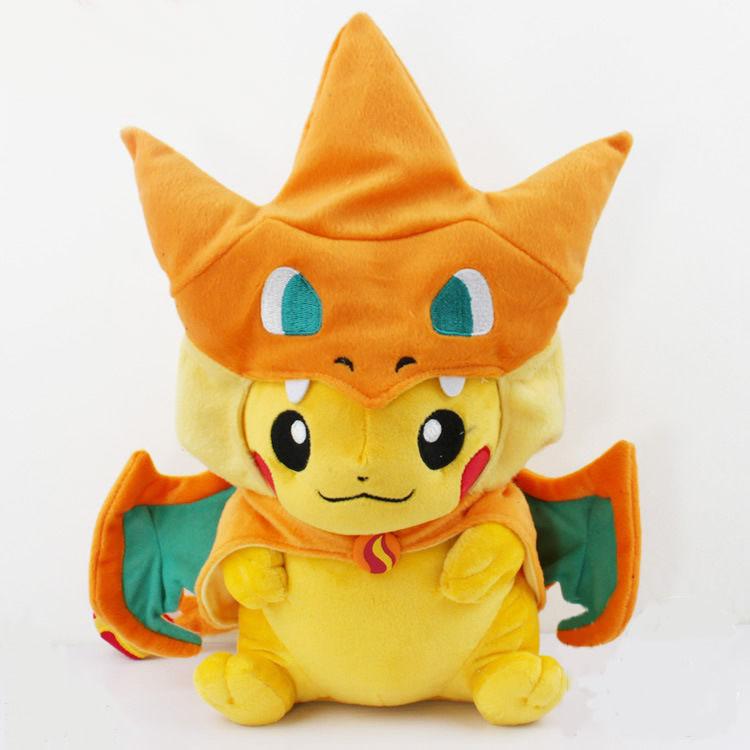 2 styles Pokemon Pikachu Cosplay Charmander Plush Toys Cute Pokemon Plush Stuffed Animals Soft Toys Fashion Pokemon Plush Doll