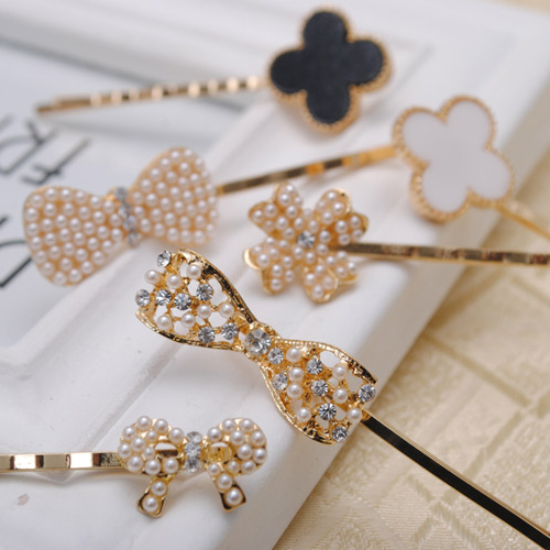 2pcs/lot high quality imitation pearl bow hairpins golden plated women bobby pins hairgirps assort styles available Hot Sale(China (Mainland))