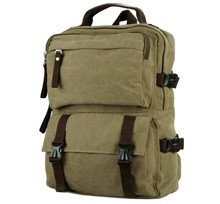 9018B Casual Canvas Backpack Bookbag Schoolbag Hiking Bag Brown Color 10PCS LOT