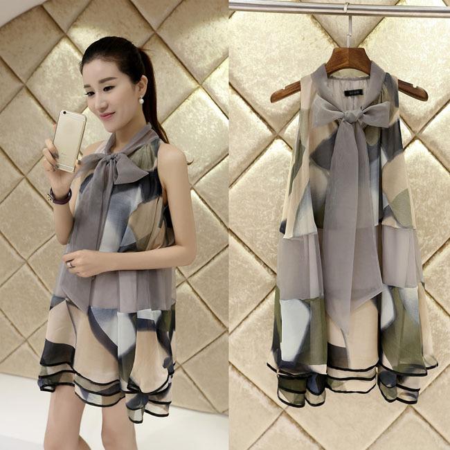Print Chiffon Dresses Maternity Clothes For Pregnant Women Elegant Bow Ladies Pregnancy Clothing Summer Wear Plus Size Fashion(China (Mainland))