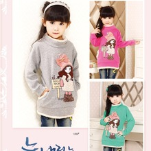 Free Shipping Winter Baby Girls Turtleneck Cotton+Cashmere Clothes Children's Minnie Thick Shirt Kids Sweaters 04(China (Mainland))