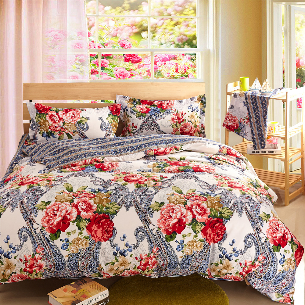 silver bedding sets floral comforter sets cheap bed linen ...
