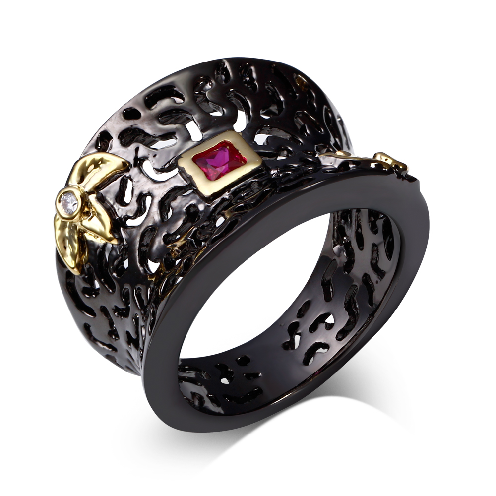 Unique jewelry gift items rings cz jewelry ring 18k black gold filled qualify product cubic zirconia Branches design jewelry(China (Mainland))